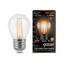 Лампа светодиодная филаментная E27 5W 2700K прозрачная 105802105