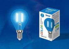 Лампа светодиодная (UL-00002989) E14 5W синий LED-G45-5W/BLUE/E14 GLA02BL