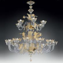 Люстра Vetri Lamp 86/12+6 Cristallo/Oro 24 Kt.