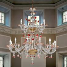 Люстра Vetri Lamp 922/12+6 Cristallo/Oro 24 Kt./Rosso