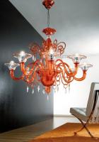 Люстра Vetri Lamp 972/8 Arancio/Cristallo