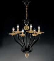 Люстра Vetri Lamp 1152/6 alto Nero/Oro 24 Kt