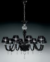Люстра Vetri Lamp 928/8 Nero/Cristallo/Nero