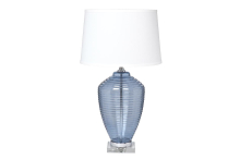Лампа настольная голубая стеклянная (белый абажур) 22-88481